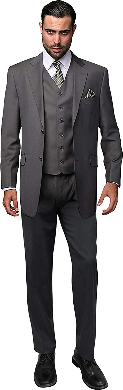 Men's 4PC Wool Camel TAN Formal Suit Reg Fit Single Breasted Vest Pants Tie Set
