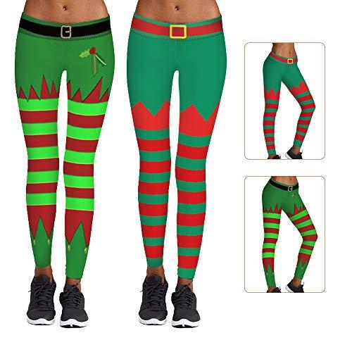 2 polainas de elfo para mujer, disfraz de elfo a rayas, disfraz de elfo de rayas, para mujer o mujer de Navidad, medias de elfo para vestir de Navidad (verde hierba + verde oscuro) (L/XL)