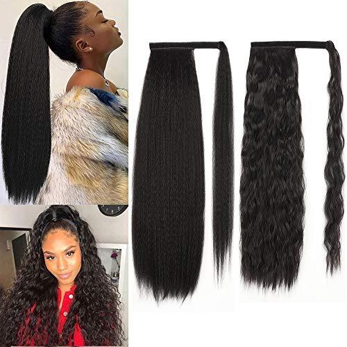 YEESHEDO 2 pezzi nera ponytail, nero Yaki dritto e ondulate, Posticci Extension Coda di cavallo parrucchino clip in estensioni dei capelli, avvolgere intorno clip in coda di cavallo 24 pollici