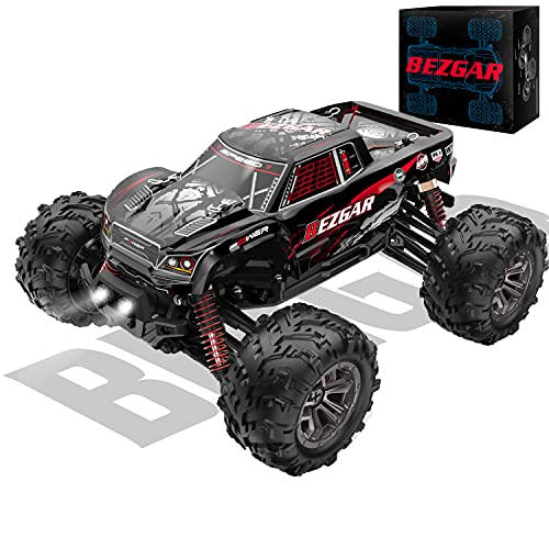 BEZGAR 5 Hobby Grade 1:20 Scale Remote Control Truck, 4WD High Speed 30+ Kmh All Terrains Electric Toy Off Road RC Monster Vehicle Car Crawler with Rechargeable Batteries for Boys Kids and Adults