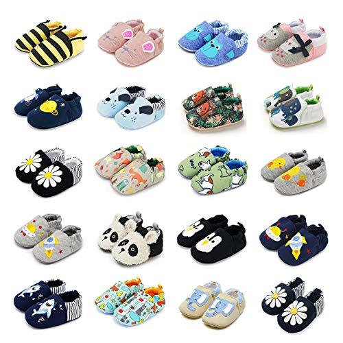 BENHERO Infant Baby Boys Girls Shoes Soft Sole Cartoon Slipper Soft Sole Moccasins Toddler First Walker House Walking Crib Shoes (9-12 Months Infant, K/Blue Dog)