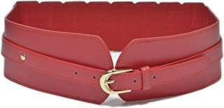 Fashion wild pin buckle girdle New ladies leather wide belt (Color : Red, Size : 80-100cm)