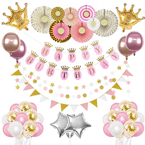 The Peacock Shop Princess Birthday Party Supplies Girl Pink And Gold Birthday Party Decorations with Princess Crown, Happy Birthday Banner, Confetti Balloons, 4D Balloons, Paper Fans, Glitter Garland