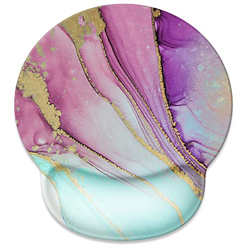 Mouse Pad with Wrist Rest Support,Cute Custom Gaming Made Non Slip Rubber Base Mousepad, Ergonomic Mouse Wrist Rest Pad Computer Laptop Mousepad (Purple Golden Colorful Marble)