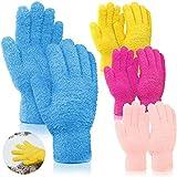 4 Pares Guantes de Microfibra de Limpieza Automática de Polvo Manopla de Limpieza Lavable para Limpieza de Cocina Automóvil Camión Espejo Lámpara (Rosa, Azul, Amarillo, Rojo Púrpura)