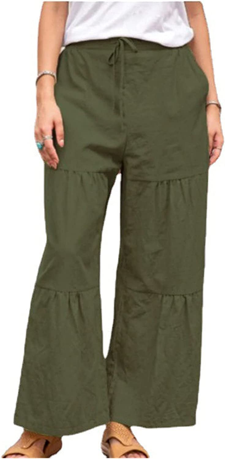 GuangYuan Womens Casual Pants Solid Color Drawstring Wide Leg Pants Ruched Casual Trousers