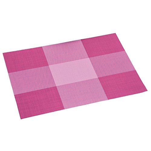 KESPER Set de Table en plastiqué en Rouge-rayé, Plastique, Multicolore, 43x29x0,1 cm