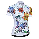 Weimostar Radtrikot Frauen Mountain Bike Trikot Shirts Kurzarm Rennrad Kleidung MTB Tops Sommer Sommer Kleidung Schmetterling weiß Größe XS