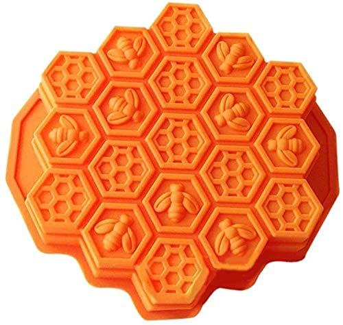 HXYA Moldes flexibles para pasteles de panal de abeja de 19 cavidades para niños de silicona para hornear torta de chocolate molde para hornear (naranja)