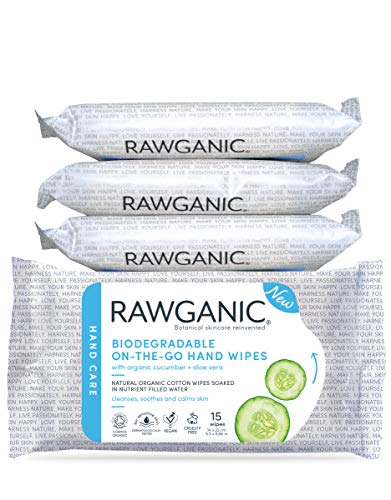 RAWGANIC Lingettes nettoyantes pour les mains, à l'Aloe Vera et au concombre, en coton biologique biodégradable, sans alcool et sans parfum (Boîte de 4 paquets (60 lingettes))