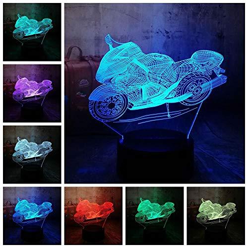 LED Art Deco 3D motorfiets 7 kleuren verloop nachtlicht kinderkamer verjaardagscadeau tafellamp