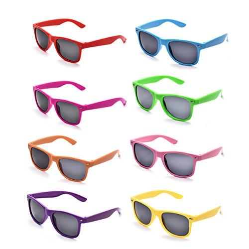 8 Pack 80's Neon Horned Rim Plastic SUnglasses