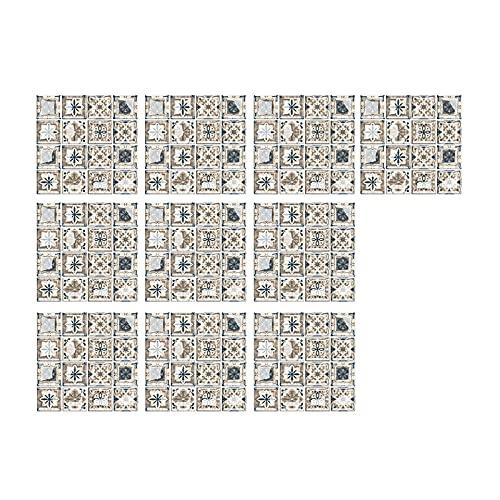 JIJK 10 azulejos adhesivos para mosaicos, azulejos de pared de PVC, para muebles de baño, resistentes al calor, a prueba de agua y humedad, fáciles de limpiar, 20 x 20 cm