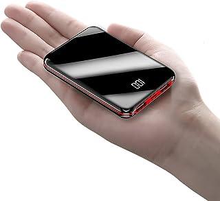 鏡面20000mAhモバイルバッテリーポータブル電源20000mAh大容量コンパクトスマホ充電器超薄型軽量入力2ポート急速充電超小型ミニ型楽々収納デジタル表示携帯充電器 (ブラック)