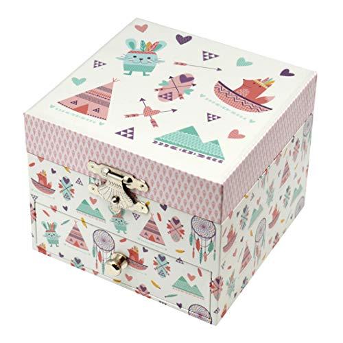 TrouSSELIER - Caja para tesoros y joyas musicales, ideal como regalo para niños, fosforescente y brillante en la noche, música Over the Rainbow H. Harlen - Color marfil