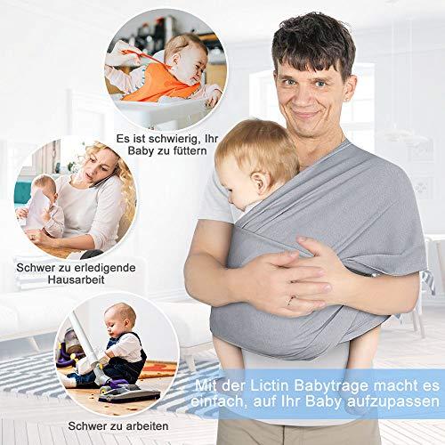 Lictin Babytragetuch Kindertragetuch Babybauchtrage Sling Tragetuch für Baby Neugeborene Innerhalb 16 KG - 8