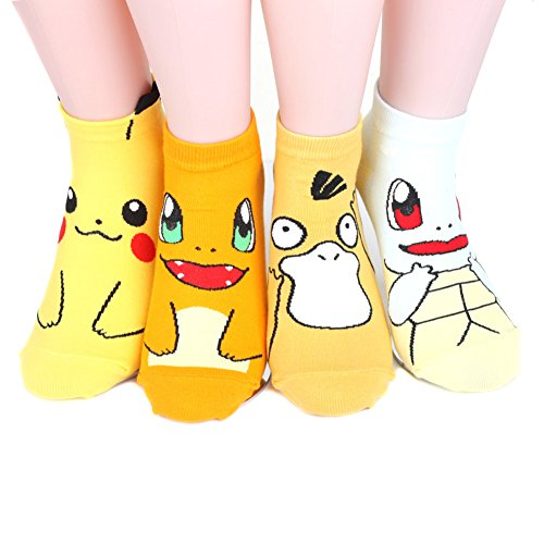Pokemon Women's Ankle Socks 4pairs(4color)=1pack Made in Korea