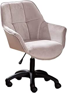 KST Moderna Silla de Escritorio para computadora de Oficina en casa con Brazos, sillón Giratorio cómodo y Ajustable, Gris con Base de Nailon Negro