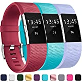 GEAK Bands for Fitbit Charge 2, Adjustable Classic Wristbands for Fitbit Charge 2, Large Lilac Red Teal