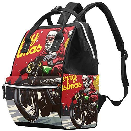 TIZORAX Riding Motor Christmas Santa Claus Grande Capacité Nappy Backpack Baby Diaper Bag Rucksack Travel Bag for Mums and Dads