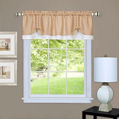 "Achim Home Furnishings, Tan/White DRVL14TW12 Darcy Window Curtain Valance, 58"" x 14"""