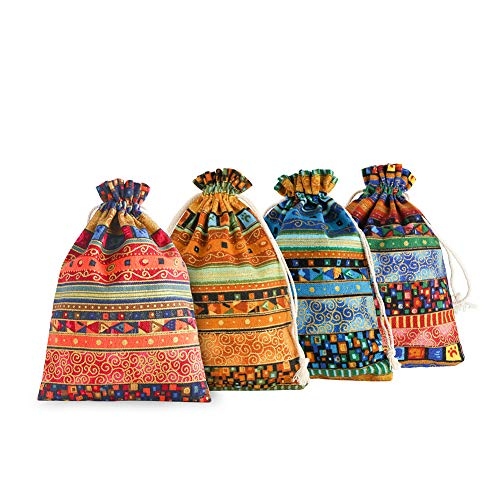 SumDirect 20 Pcs 5x7 Inch Mixed Color Egyptian Ethnic Style Drawstring Jewelry Coin Pouches, Small Cloth Burlap Bags for Candy Wedding Party Valentine Favors