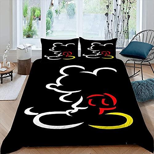 Juego de cama 3D Mic-key M-inne para niños, incluye 1 funda de edredón y 2 fundas de almohada estampadas, 3 piezas, juego de cama king size