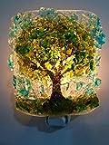 Oak Tree Handcrafted Fused Recycled Bottle Glass Art Night Light Nightlight Nitelite Unique Eco Gift