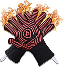 2021 Premium Extreme 1472F Heat Resistant Oven Gloves - Silicone Non-Slip Insulated, Flexible, Soft- Protect Hands with Hot Surfaces - Mitts Fingers for Cooking, BBQ, Grilling, Baking, Smoker, Pizza