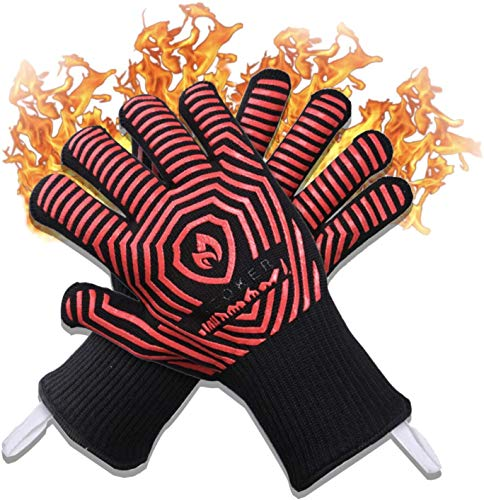 AZOKER Premium Extreme 1472°F Heat Resistant Oven Gloves - Silicone Non-Slip Insulated, Flexible, Soft - Protect Hands from Hot Surfaces - Oven Mitts for Cooking,BBQ, Grilling, Baking,Smoker - Black