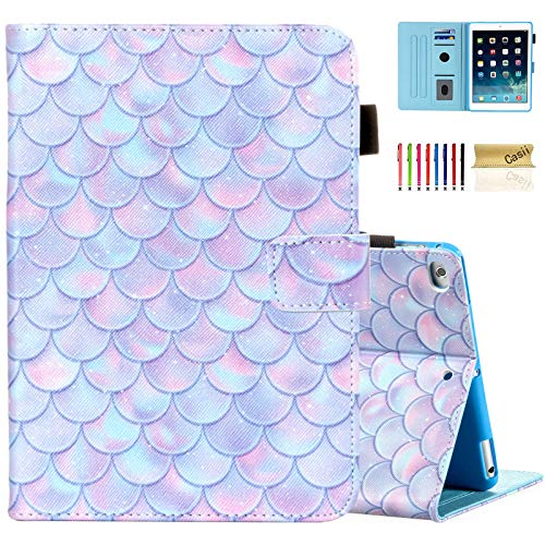 Casii Case for iPad 9.7 2018/2017, iPad Air 2/iPad Air, Synthetic Leather Folio Stand Smart Magnetic Cover with Auto Sleep Wake for iPad 5th/6th Generation [Corner Protection], Bling Scales