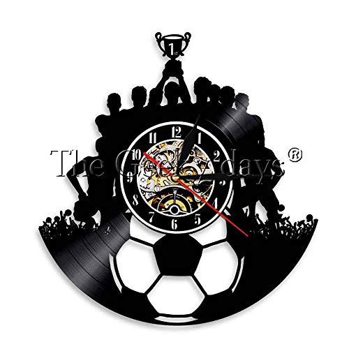 Colorido 1 Pieza Fútbol Disco de Vinilo Reloj de Pared Equipo de fútbol Lámpara de Pared Equipo de fútbol Campeón Iluminación de Humor Triumph Souvenir 12 Pulgadas