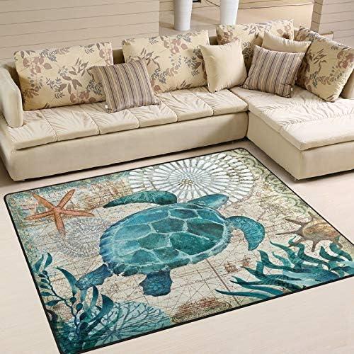 MNSRUU Very popular Area Rug Ocean Sea Turtle Rugs L for Entry unisex Nursery Carpet