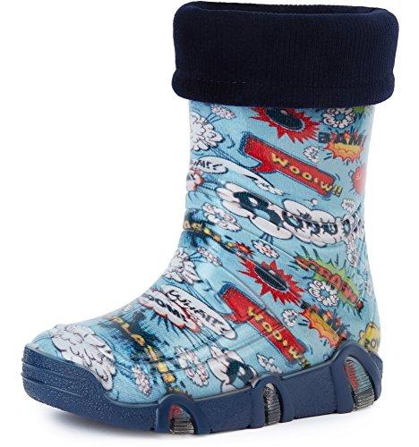 Ladeheid Botas de Agua Zapatos de Seguridad Calzado Unisex Niños Niñas Swk 26 (Multicolor Bang, 21/22 EU)