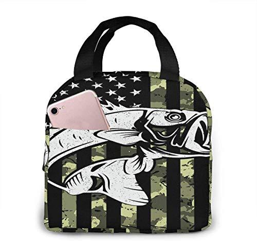 Bandera americana Camuflaje Pesca de lubina Bolsa de almuerzo de moda Bolsa térmica aislada resistente al agua con bolsillo para oficina / escuela / al aire libre-Negro-Talla única