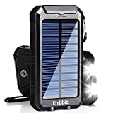 Solar Charger 20000mAh Solar Power Bank Waterproof Portable External Backup Battery Charger Built-in Dual USB/Flashlight for All Cell Phone, Tablet, and Electronic Devices(Black)