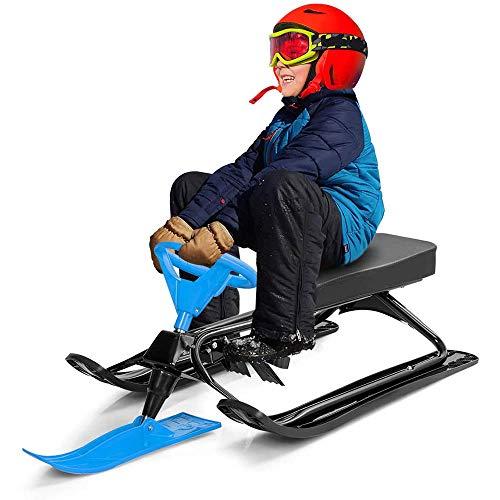 ANBO Lenkung Ski Snow Racer Schlitten, Skischlitten mit Lenkrad und Doppelbremsen Stahlrahmen und HDPE Slider Downhill Lenkbarer Schlitten für Kinder Jugendliche (blau)