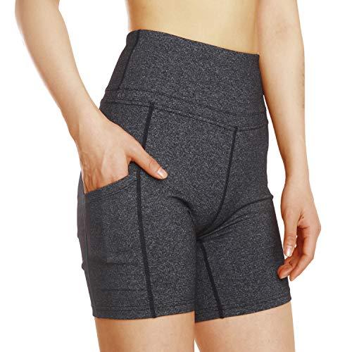 ChinFun Yoga-Shorts für Damen, hohe Taille, Bauchkontrolle, 4-Wege-Stretch, Workout, Lauf-Shorts, Seitentaschen - - Klein