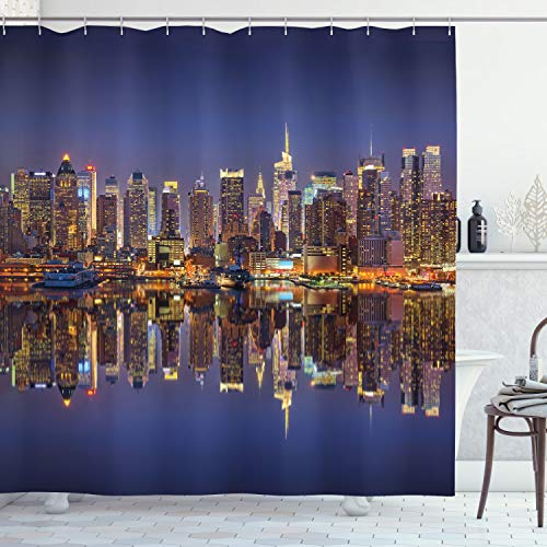 ABAKUHAUS Landschaft Duschvorhang, New York City USA, Digital auf Stoff Bedruckt inkl.12 Haken Farbfest Wasser Bakterie Resistent, 175 x 200 cm, Multicolor