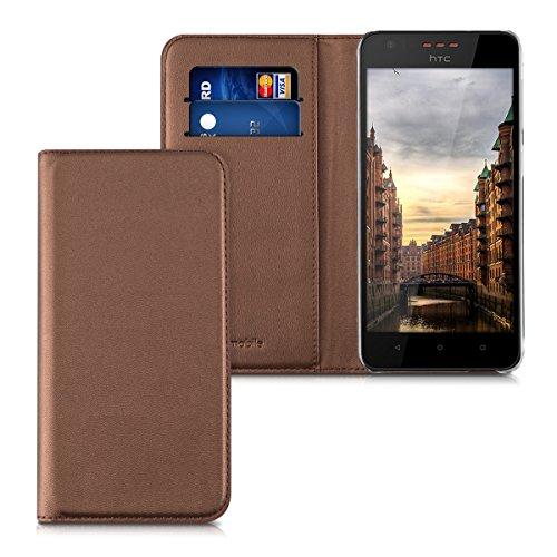 kwmobile HTC Desire 530 Hülle - Kunstleder Handy Schutzhülle - Flip Cover Case für HTC Desire 530 - Kupfer