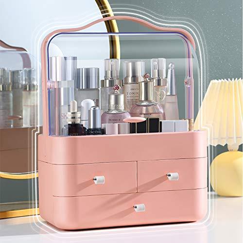 RMAN® Kosmetikbox Aufbewahrung Kosmetik Makeup Organizers Staubdicht mit 3 Schubladen Schminktisch Beauty Organizer für Dresser Bad Schlafzimmer, Korallenorange