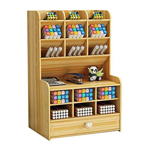 [シャンディニー] 卓上収納ボックス 引き出し 木製 大容量 ペン立て ペンスタンド ペン入れ 卓上 ナチュラルカラー