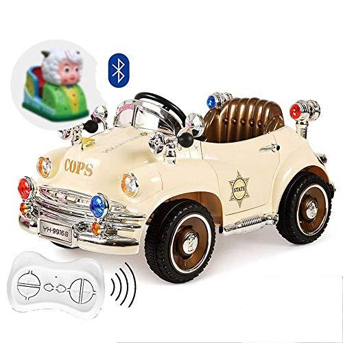 KTDT Vierrädriges Retro-Elektroauto Kinderschaukel Kinderwagen Polizeiauto Fernbedienung Auto Babyauto kann Menschen sitzen Oldtimer Fahrt auf Fahrzeugen Junge Mädchen Schaukel RC Kinderspielzeug