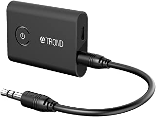 TROND Bluetooth V5.0 Transmitter Receiver for TV PC iPod, 2-in-1 Wireless 3.5mm Adapter (AptX Low Latency, Pair with 2 Bluetooth Headphones Simultaneously), Black
