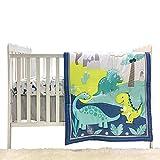Dinosaur Crib Bedding Set 3 pcs Gender Neutral Babies Boys Girls (Blue)