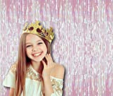 Treasures Gifted White Rainbow Iridescent Foil Fringe Metallic Curtains 3 x 8 Feet Tinsel Laser Pack of 2 Photo Booth Prop Backdrop Decoration for Unicorn Baby Shower Birthday Party