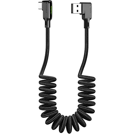 Mcdodo L字型 カールタイプC 1.8mケーブル 90度曲げ LEDライト付き 3A急速充電 QC 4.0 USB Type - C to USB - A 2.0 高速データ転送 コイル状 高耐久 断線防止 ナイロン編み 格納式ポータブル柔軟 USB C コード Type-C機器対応 (Type-C, ブラック)