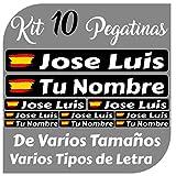 Kit 10 Pegatinas Vinilo Bandera España + tu Nombre - Bici, Casco, Pala De Padel, Monopatin, Coche, Moto, etc. Kit de Diez Vinilos (Pack Fuentes 2)