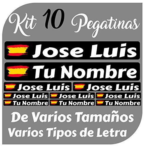 Kit 10 Pegatinas Vinilo Bandera España + tu Nombre - Bici, Casco,...