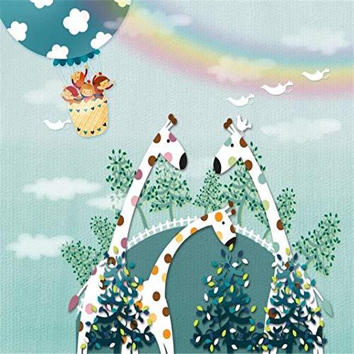 DZBHSCL 4D behang wandschilderingen, cartoon giraf familie dier hot luchtballoon regenboog kunstdruk grootte fotobehang voor kinderkamer kinderkamer achtergrond wanddecoratie 104in×168in 260cm(H)×420cm(W)